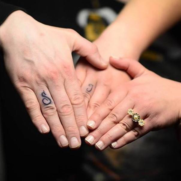 wedding ring initial tattoos