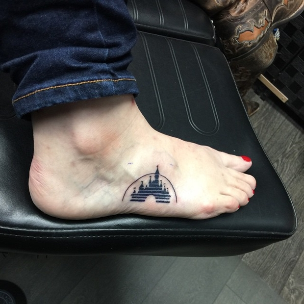 disney side of foot tattoo