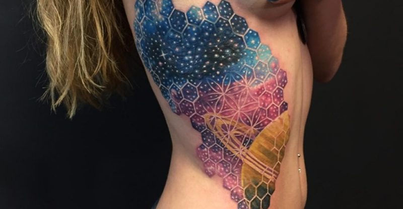 space piece side tattoos for girls