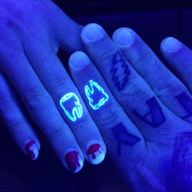 Matching Teeth UV Tattoos On Fingers UV Ink Tattoo Designs