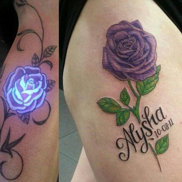 Rosa Fiore UV Ink Tattoo Designs
