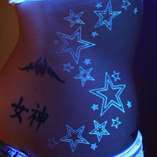 Stars UV Ink Tattoo Designs