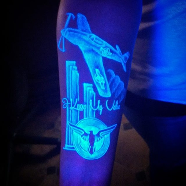 UV Blacklight Air Plane Tattoos