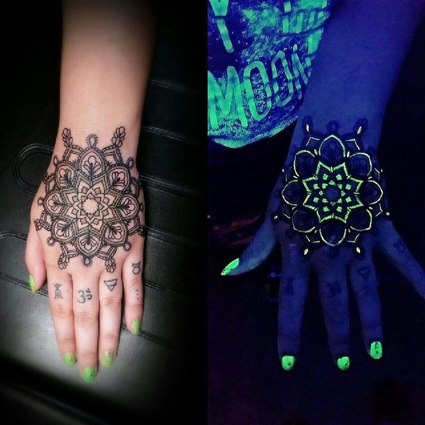Ultraviolet Mandala UV Ink Tattoo Designs