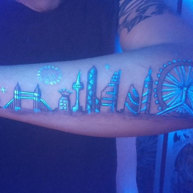 city tattoo black ink uv lights