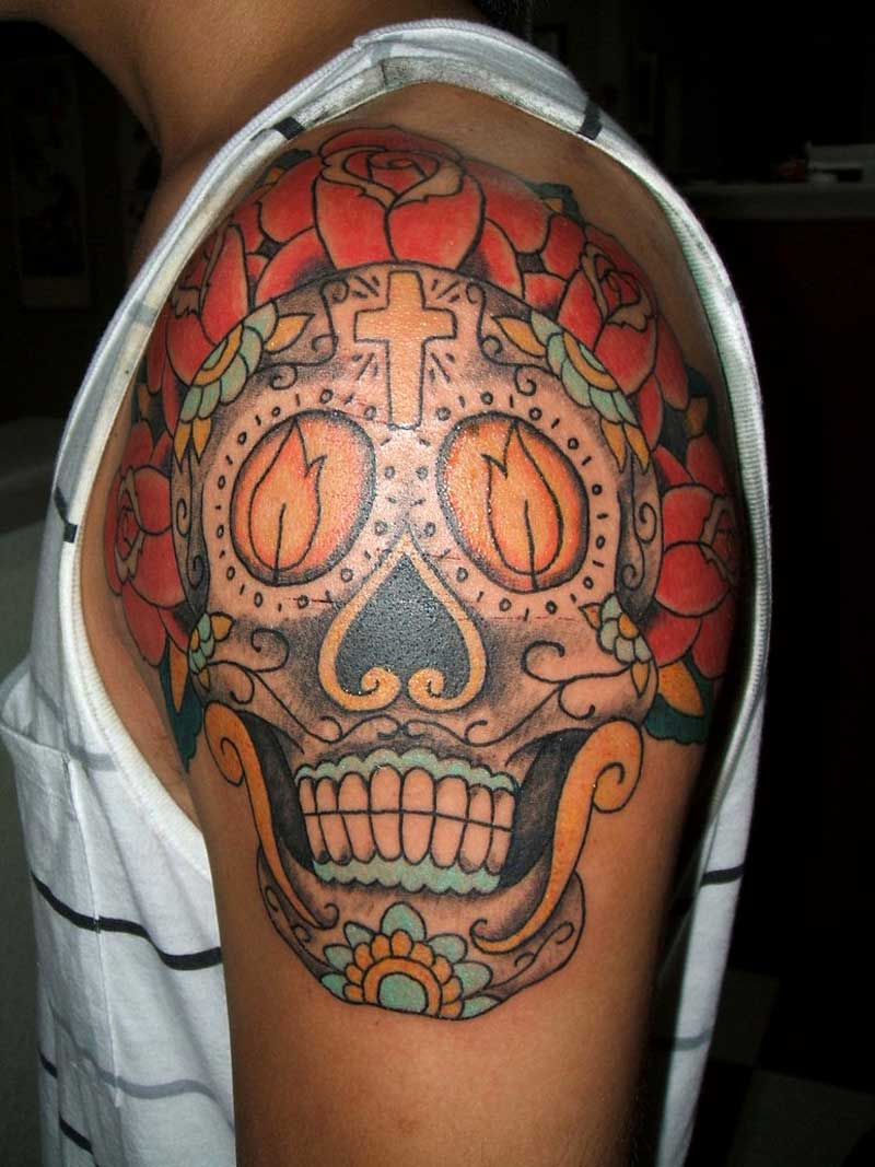 Tattoos for men for Candy skull tattoo