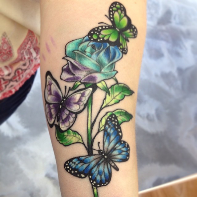 Amazing Butterfly Tattoos with Rose Flowers