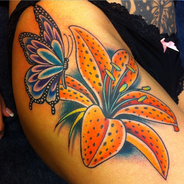 Awesome Butterfly Tattoos with Flower