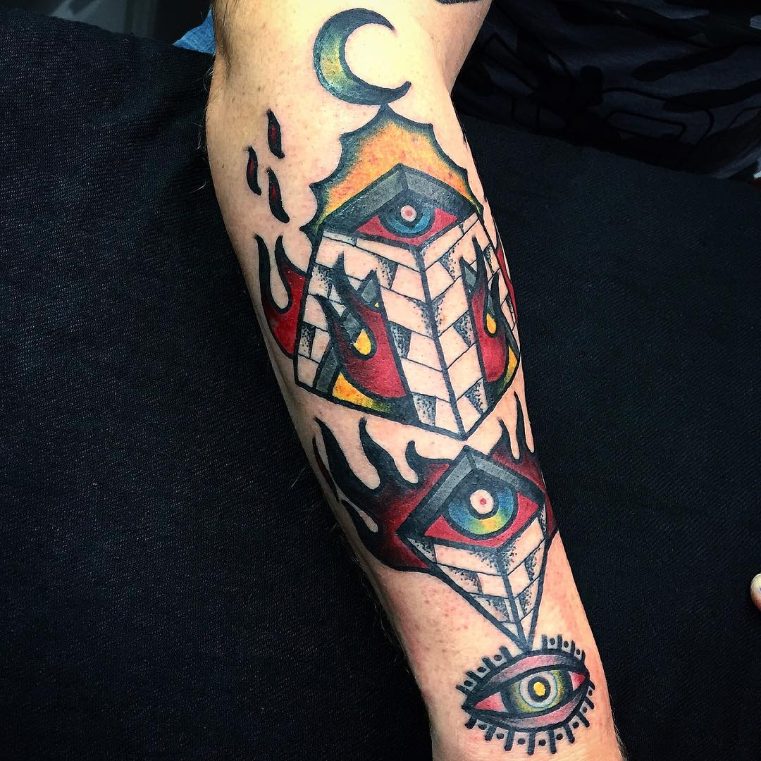 Burning Pyramid Eyes Tattoo with Flames