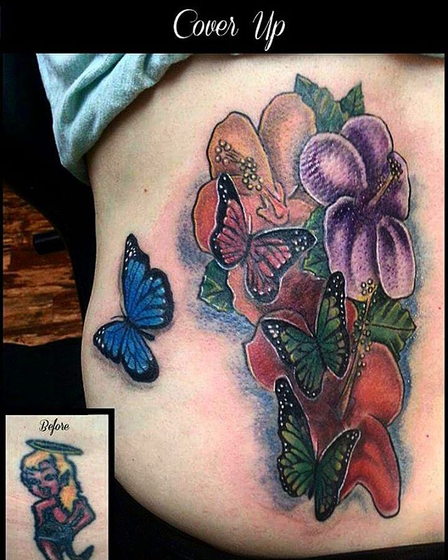 Butterfly Cover up Tattoos with Flower