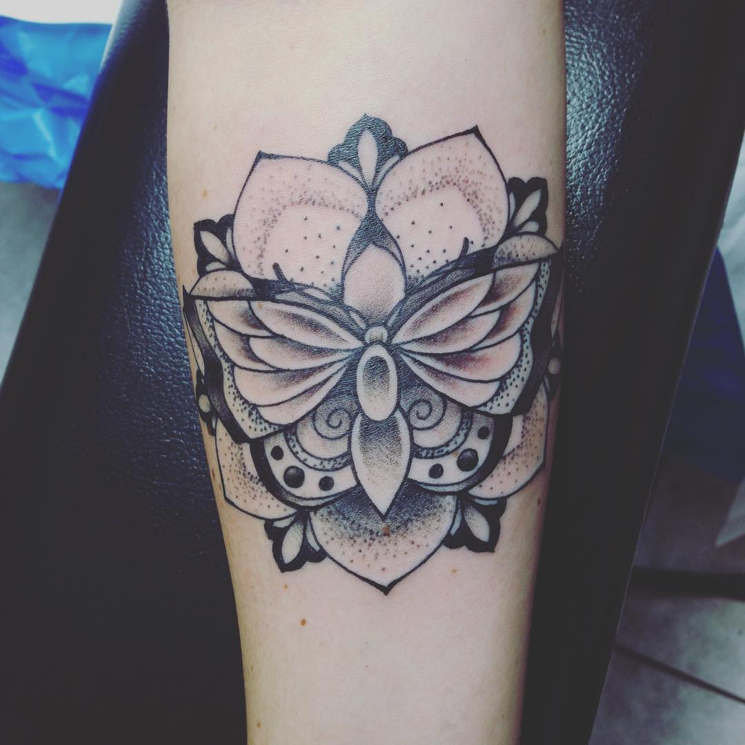 Butterfly Dot Work Tattoos with Flower