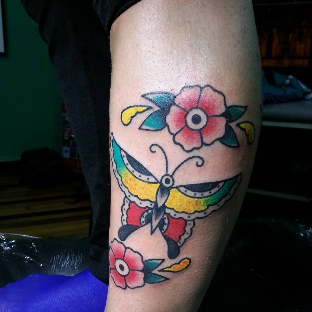 Butterfly Tattoos with Flowers for Men