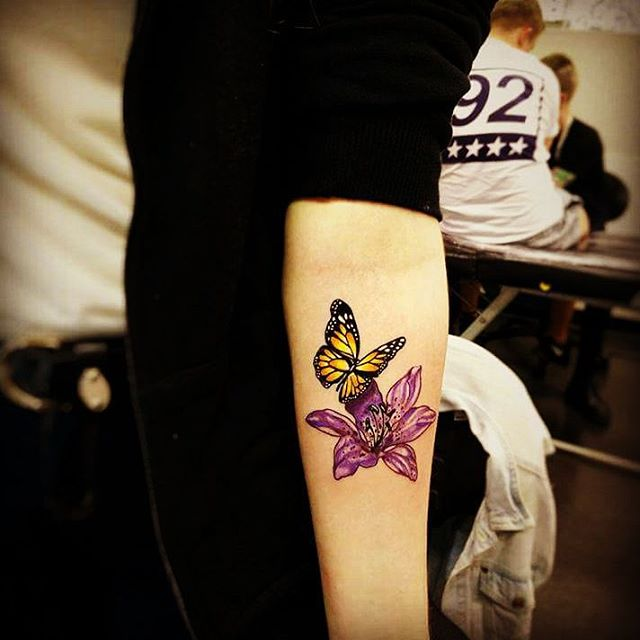 Butterfly Tattoos with Flowers on Inner Arm