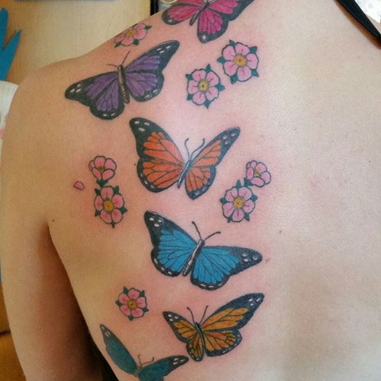 Butterfly Tattoos with Small Flowers