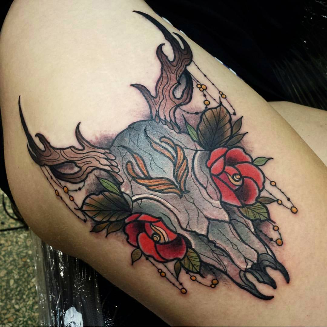Colorful-Deer-Skull-Tattoos