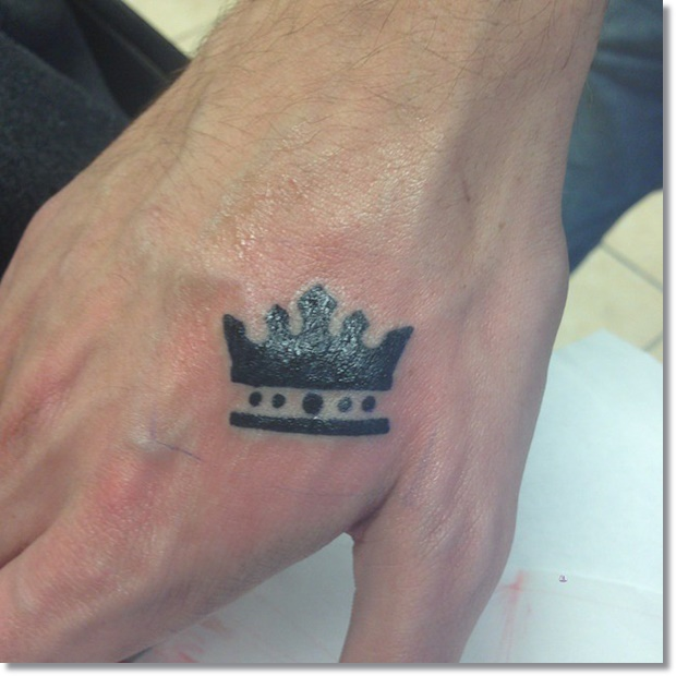 Cool crown tattoo for men on hand