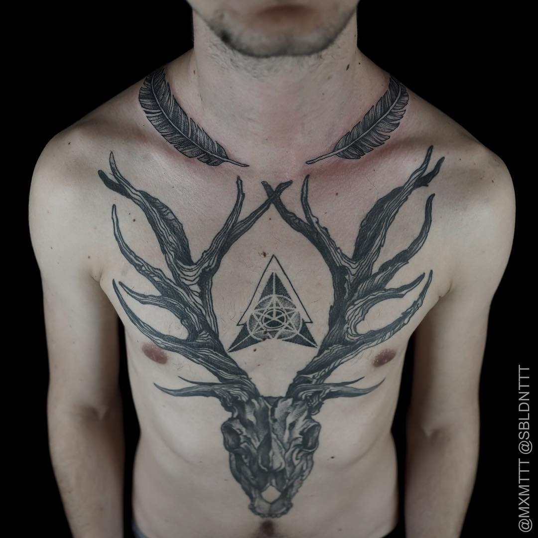 Deer Skull Tattoos with Feathers