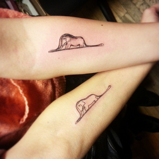 Elephant Small Tattoo for Couple