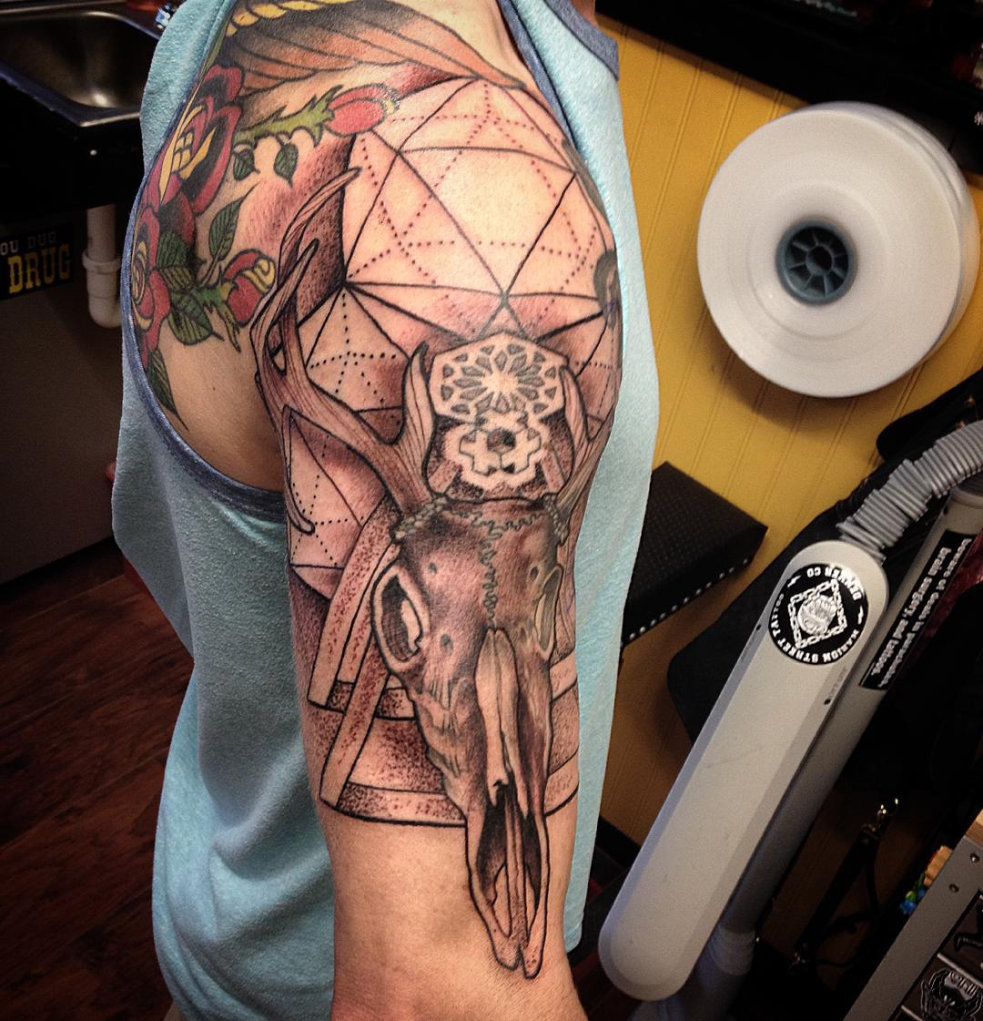 Half-Sleeve-Deer-Skull-Tattoos