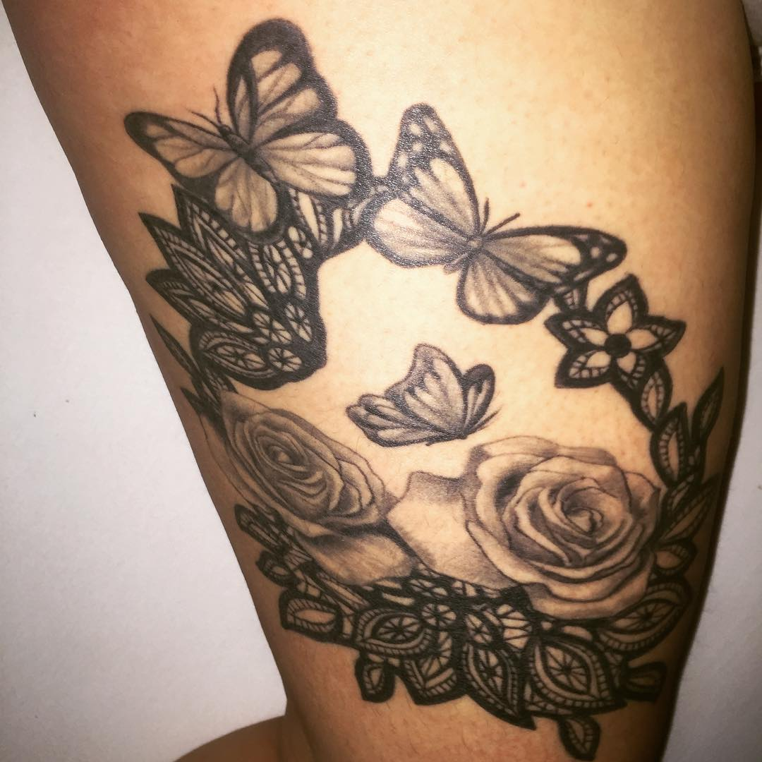 Rose Flower and Butterfly Tattoo on Thight