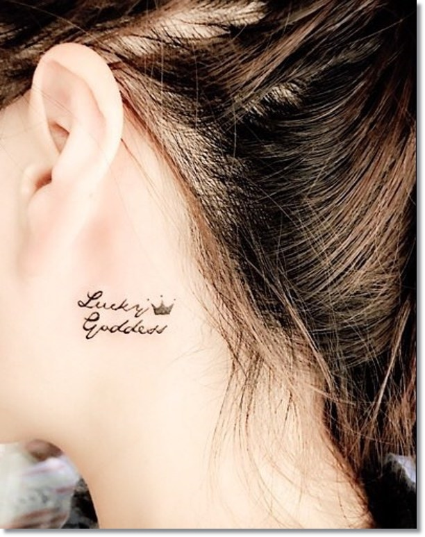 Small Crown Tattoo on Neck for Women