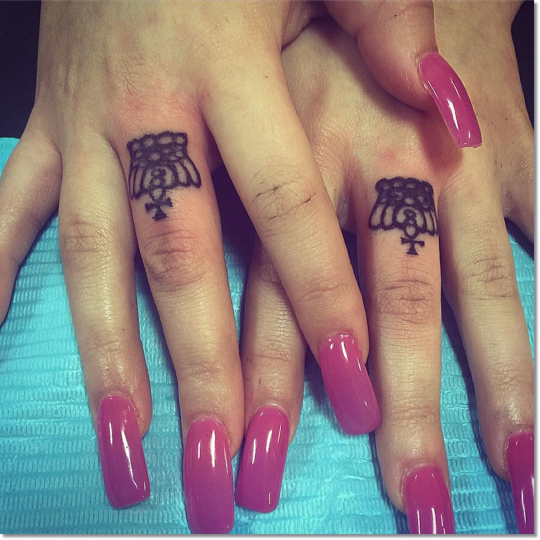 Small Matching Crown Tattoo on Finger for Women