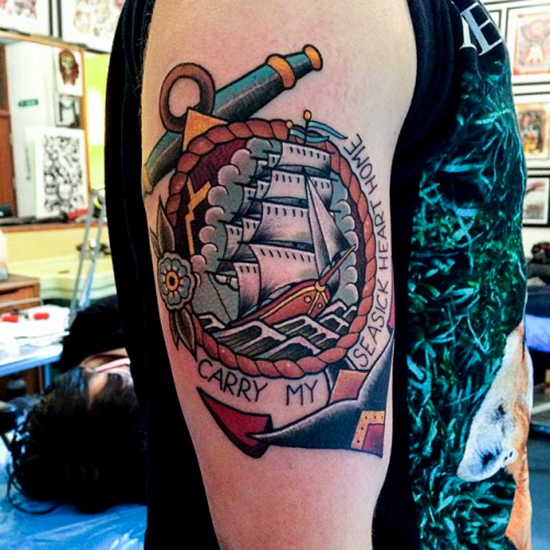 anchor tattoos with a ship