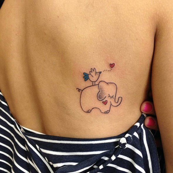 baby elephant lower back tattoos