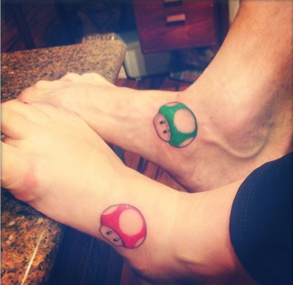 brother and sister mario tattoo