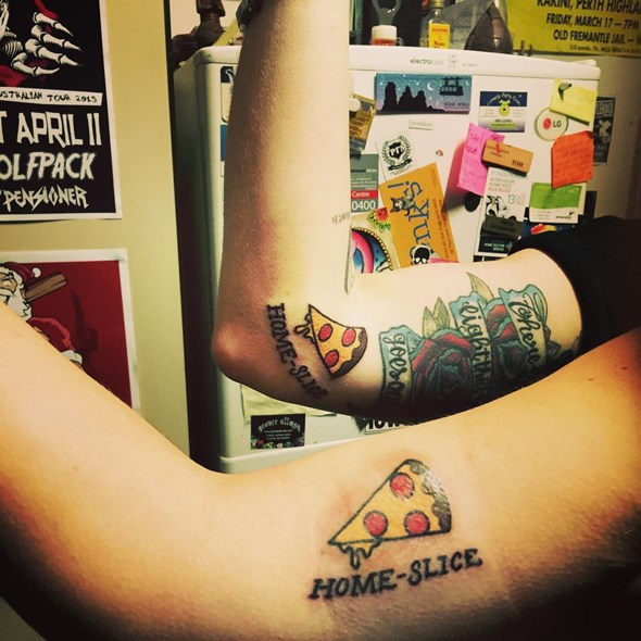 brother and sister matching pizza tattoo