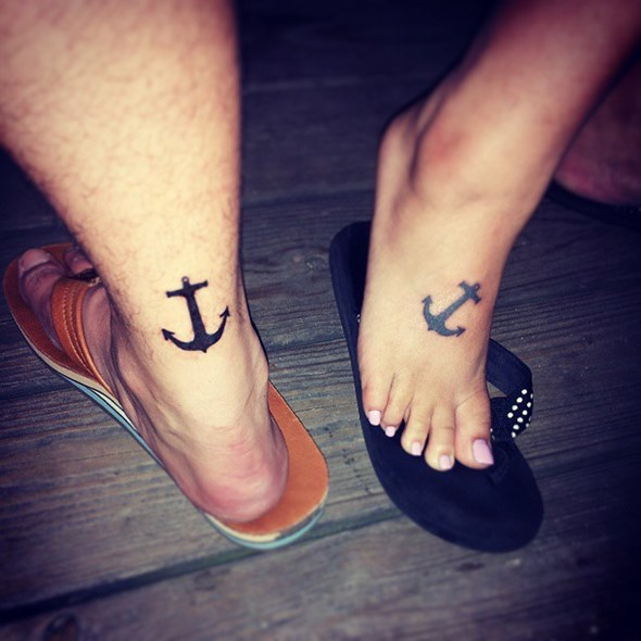 brother sister matching anchor tattoo