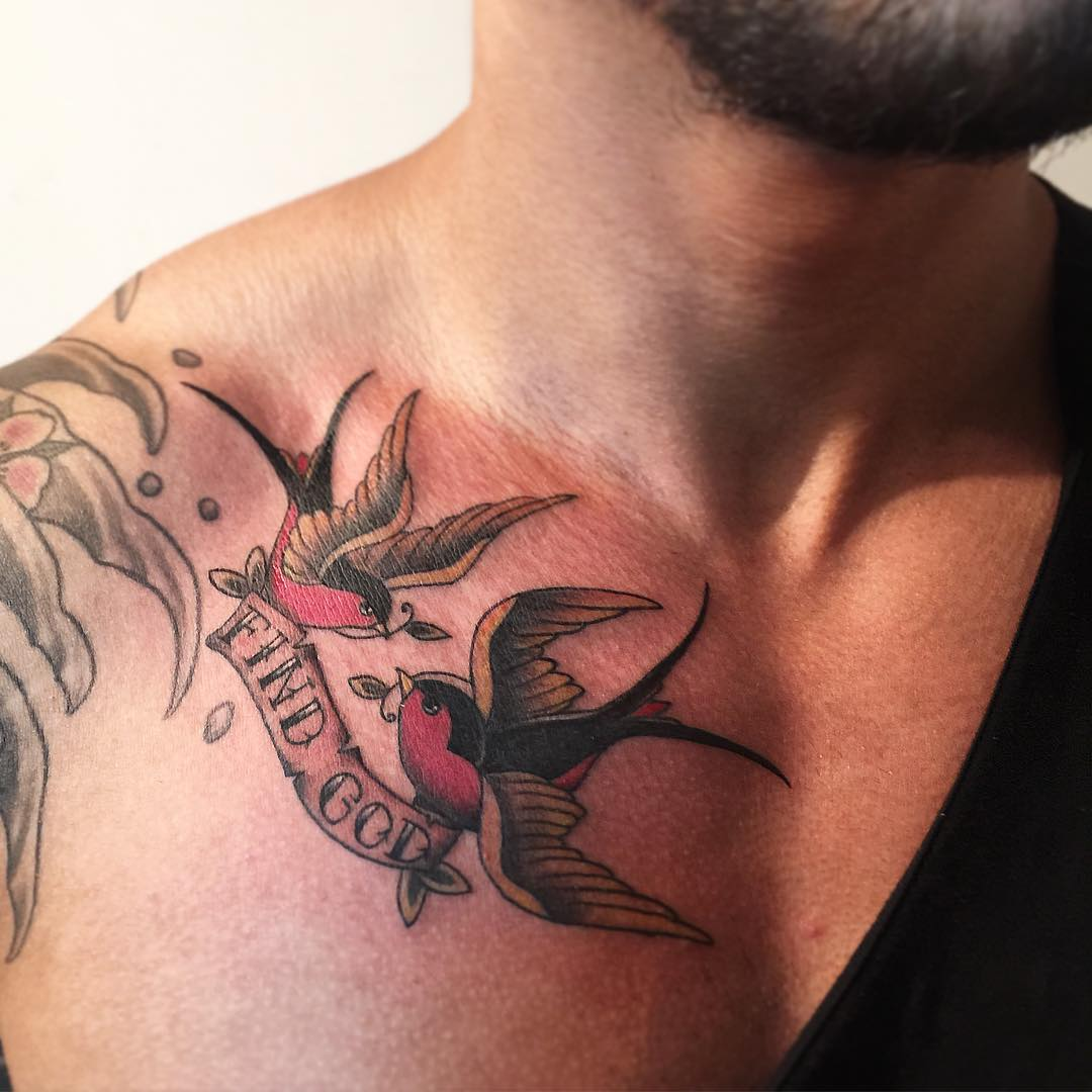 collar bone bird tattoo for men