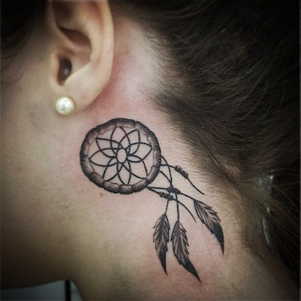 cute dreamcatcher tattoo behind ear