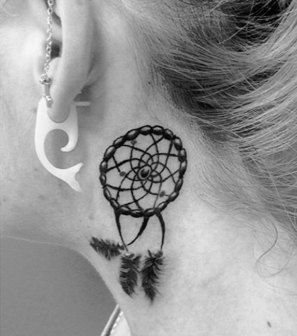 dreamcatcher tattoo design behind ear small