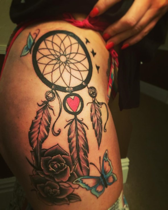 dreamcatcher tattoo designs on the thigh for girls