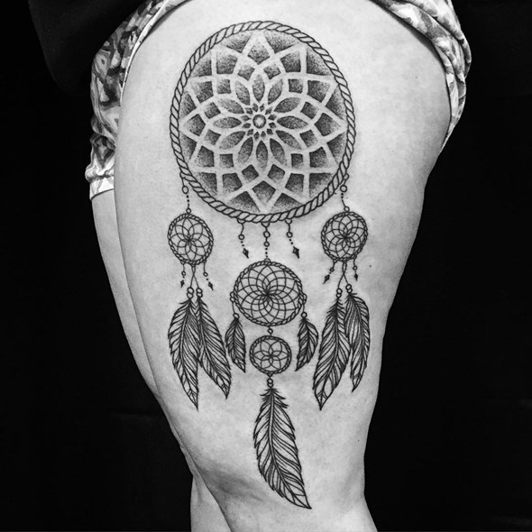 dreamcatcher tattoo on side thigh for girls