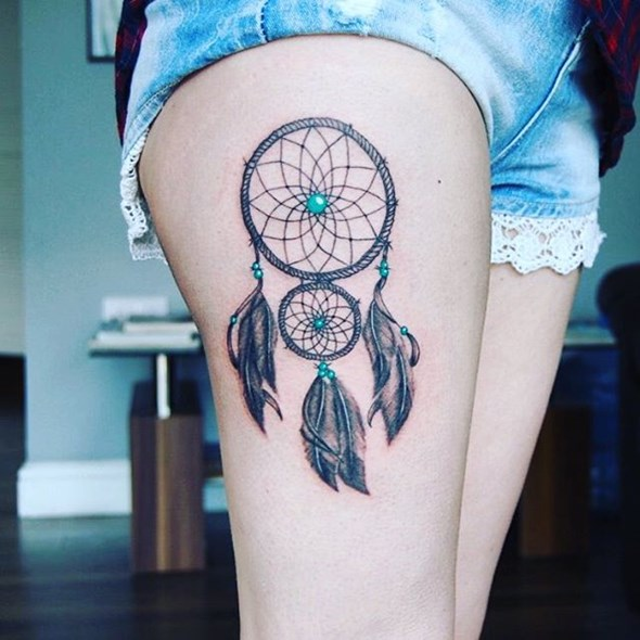 dreamcatcher tattoos on thigh to cover up scar