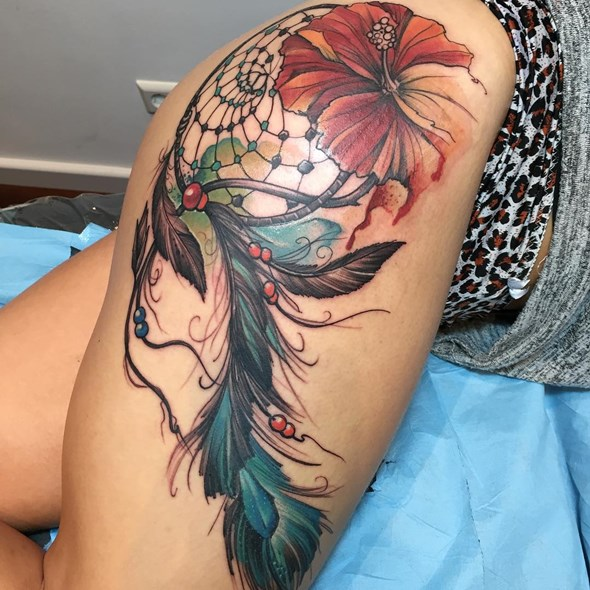 dreamcatcher tattoos on thighs for girls