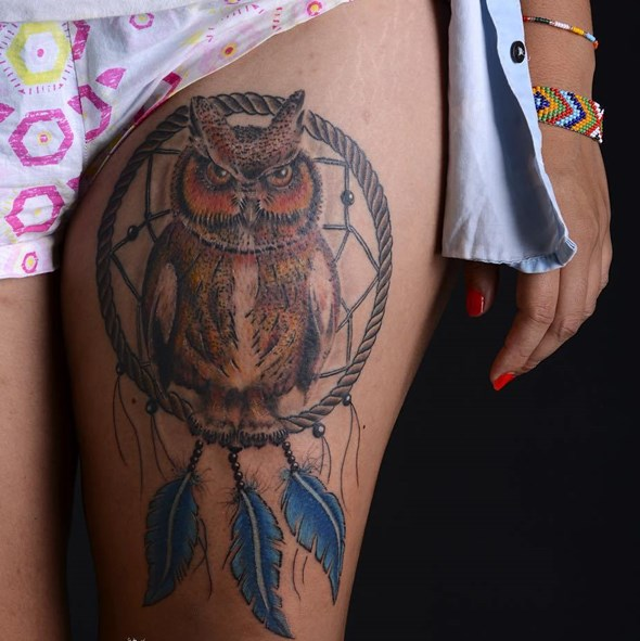dreamcatcher with owl thigh tattoos