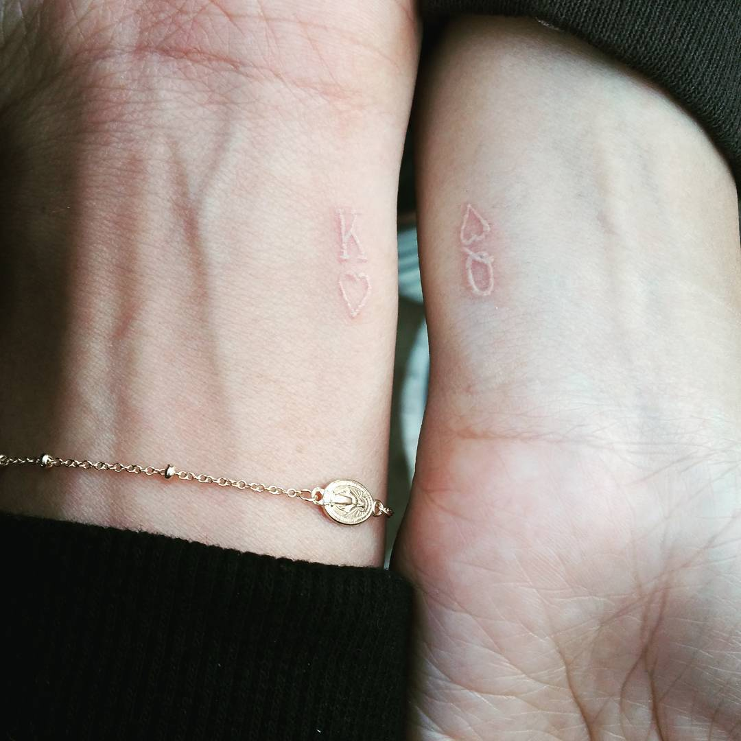king and queen white ink tattoo ideas