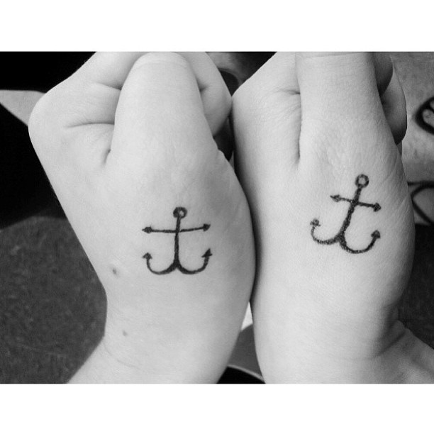 matching anchor tattoos for best friends