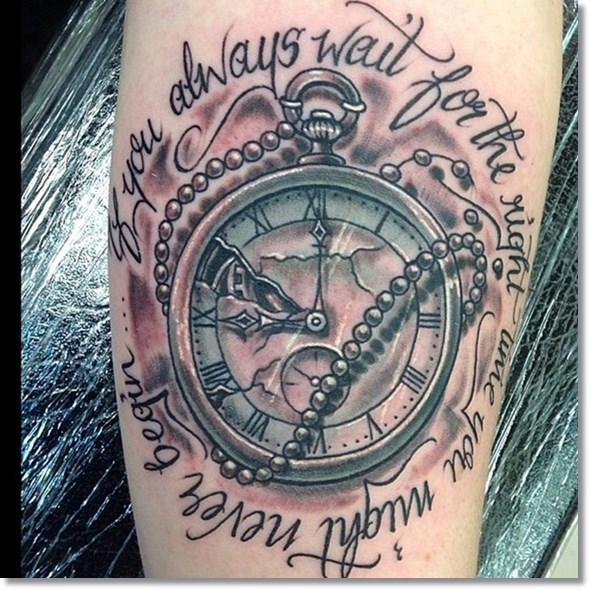 old style broken pocket watches tattoos