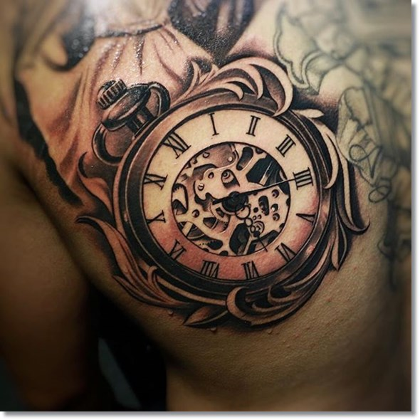 pocket watch tattoo placement