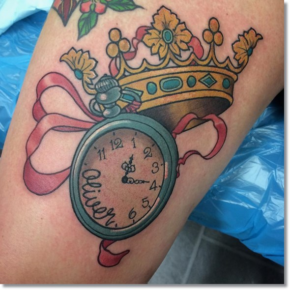 pocket watch tattoo with crown