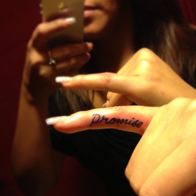 promise tattoos on pinky finger for girls