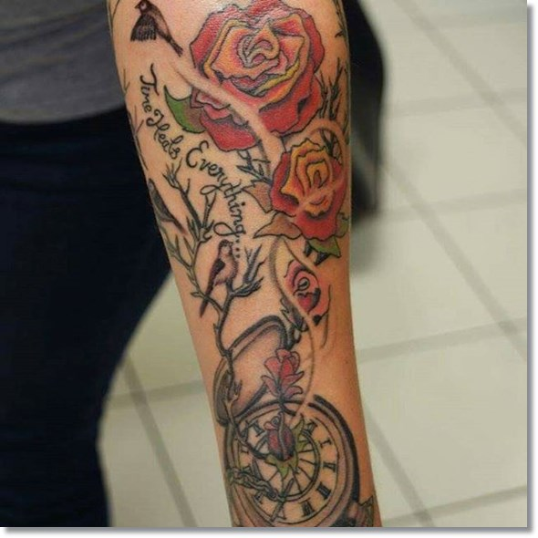 rose and pocket watch tattoo design for girl