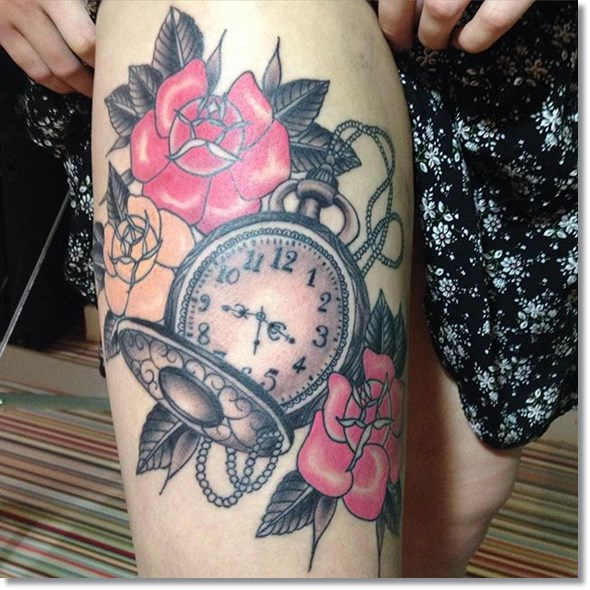 rose and pocket watch tattoo designs