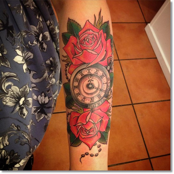 rose and pocket watch tattoo tumblr
