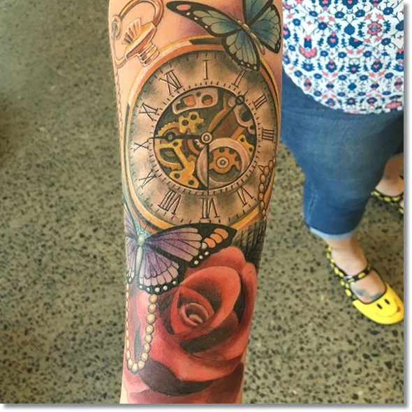 rose and pocket watch tattoo with butterfly