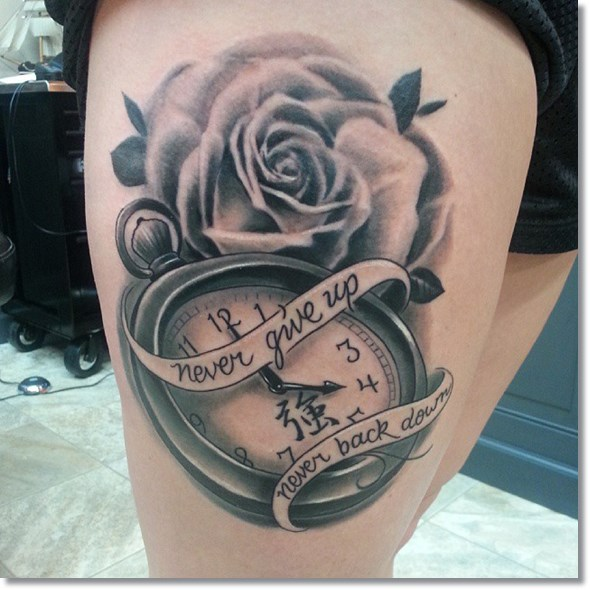 rose and pocket watch tattoo with saying